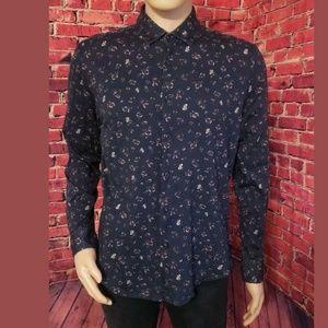 Blue Floral Zara Man Button Down Shirt